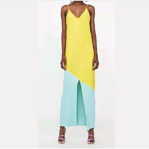 2a1b2cf1 Zara Dresses   Large Yellow Two Tone Pleated Maxi Dress   Poshmark
